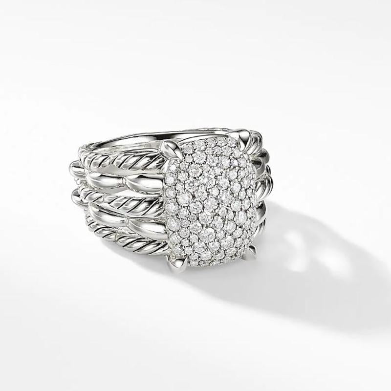 Cnvpk 0.92Ct T.W Statement Ring with Pavé Diamond