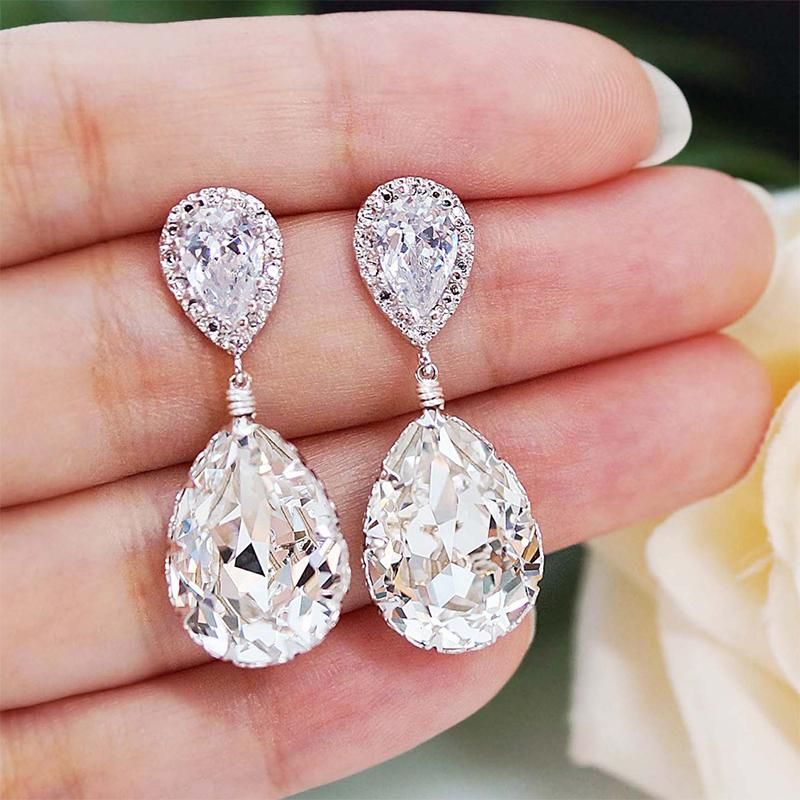 Cnvpk 2.8Ct Pear Cut 925 Silver Earrings Tear drops