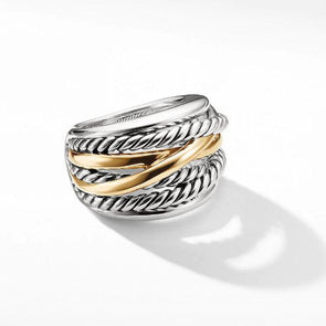 Two Tone Crossover Wide Women's Ring in Sterling Silver