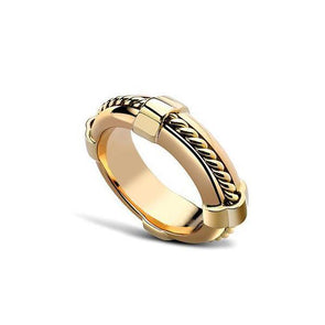 Minimalist Fashion Yellow Gold Women's Ring in 925 Sterling Silver