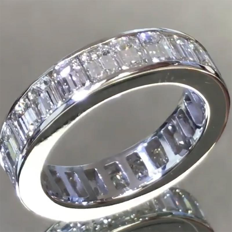 Cnvpk 6 Ct Baguette Cut 925 Silver Engagement Band