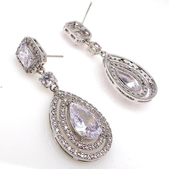 Double Halo Pear Cut Lab-created Sapphire Teardrop Earrings in 925 Sterling Silver