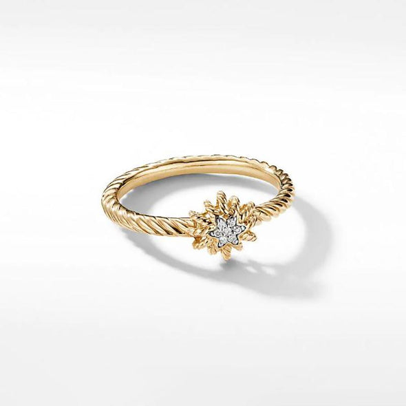 Minimalist Flower Yellow Gold Women's Ring in 925 Sterling Silver