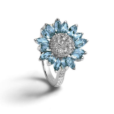 Flower Round & Marquise Cut Aquamarine lab-Created Sapphire Engagement Ring in 925 Sterling Silver