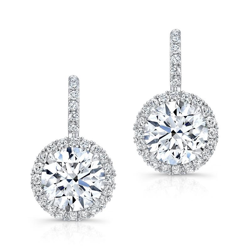 Cnvpk 7Ct Round Cut  White Sapphire Halo Drop Earrings in 925 Silver