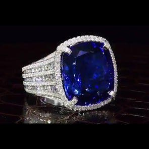 Stunning 6 CT Cushion Cut Blue Sapphire Sterling Silver Ring