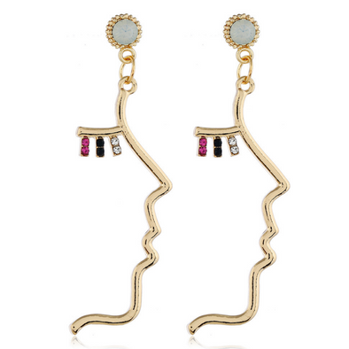 Women's Beauty Face Drop Earrings in Gold Alloy