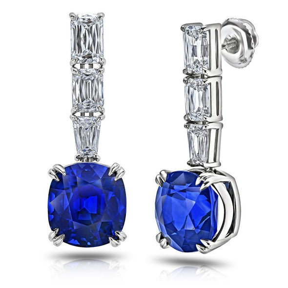 Blue Cushion Cut Lab-created Sapphire Drop Earrings in 925 Sterling Silver