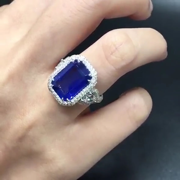 6.28 CT Blue Sapphire Emerald Cut Sterling Silver Engagement Ring