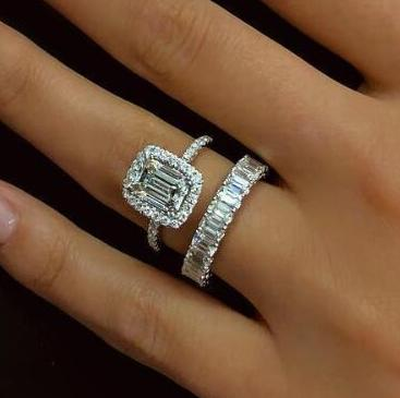 Emerald Cut Lab-created Sapphire Halo Wedding Set in 925 Sterling Silver