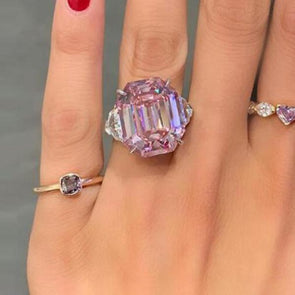 3-Stone Emerald Cut Pink Lab-Created Sapphire Engagement Ring in 925 Sterling Silver