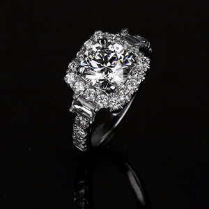 3-Stone Round Cut Lab-created Halo Sapphire Engagement Ring in 925 Sterling Silver