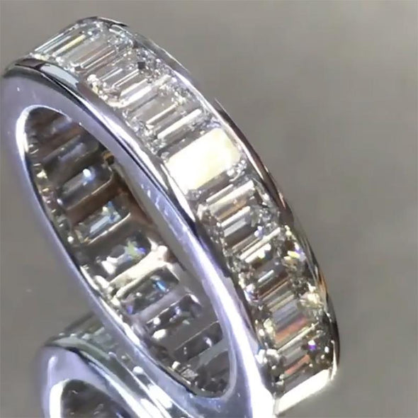 Baguette Cut Lab-created Sapphire Women's Band in 925 Sterling Silver