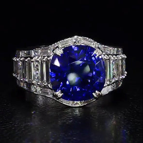 5 CT Lab-created Blue Sapphire Engagement Ring with White Bagutte Sidestones