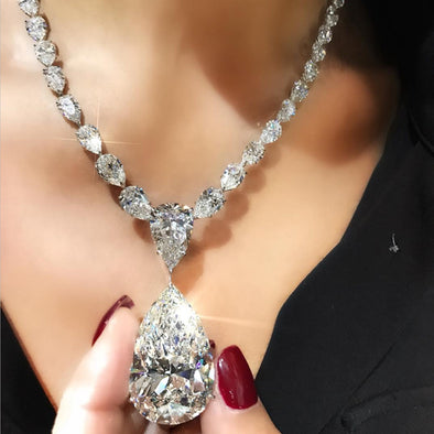 Stunning Brilliant 23.5 CT Pear Shape Bling Bling Lab-created Diamond Necklace in Sterling Silver