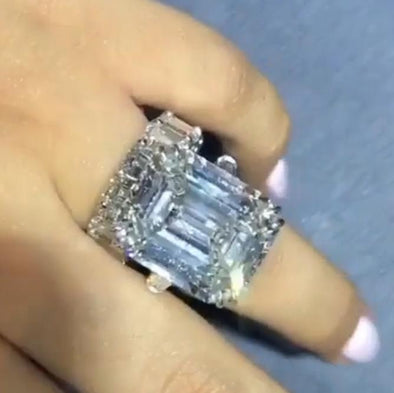 6.5 CT Emerald Cut Created White Sapphire Wedding Ring Set In Sterling Silver