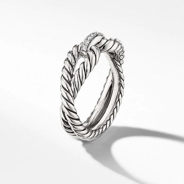 Simple Twisted Women's Ring in 925 Sterling Silver