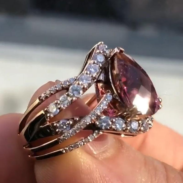 Crossed Pear Cut Ruby Lab-created Sapphire Rose Gold Bridal Ring Set in 925 Sterling Silver