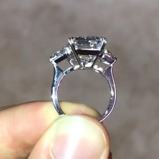 8.2 Ct Emerald Cut Three Stone Lab-created Sapphire Engagement Ring in 925 Sterling Silver