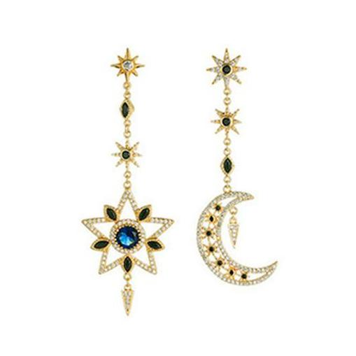 Romantic Asymmetric Star & Moon Rhinestone Long Dangle Gold Alloy Earrings