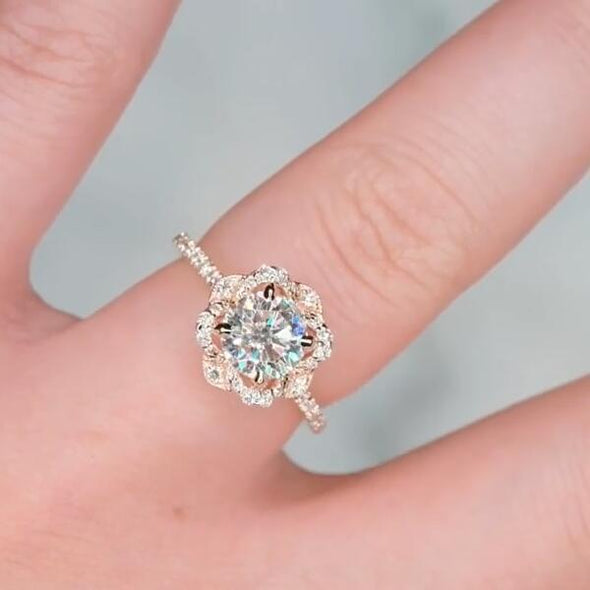 Flower Round Cut Lab-created Sapphire Rose Gold Engagement Ring in 925 Sterling Silver