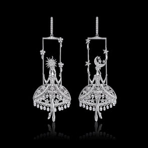 16CT Round & Pear Cut White Sterling Silver Fairies Of Day And Night Earrings