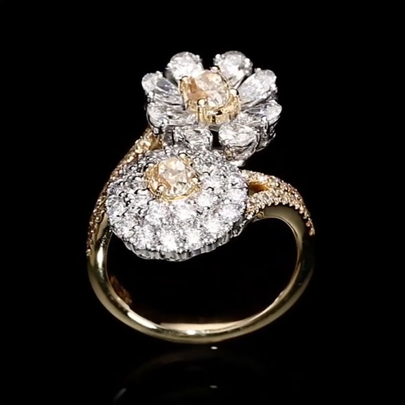 Stunning 8.16 CT Bypass Flower Shape Lab-created Diamond Ring in Sterling Silver