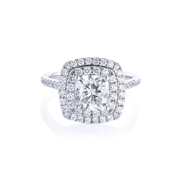 1.5 CT Double Halo Cushion Cut Sterling Silver Ring Set