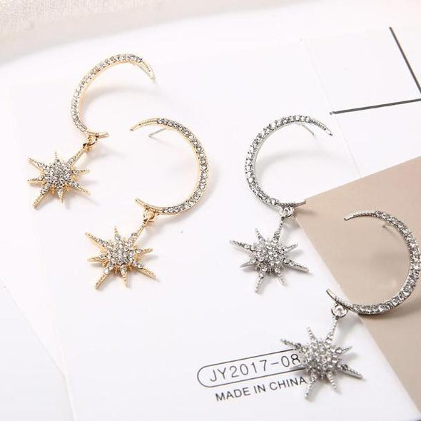 Simple Star & Moon White Rhinestone Drop Earrings in Yellow Gold Alloy