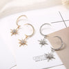 Simple Star & Moon White Rhinestone Drop Earrings in Silver Alloy