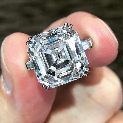 Three Stone Asscher Cut Lab-created Sapphire Engagement Ring in 925 Sterling Silver
