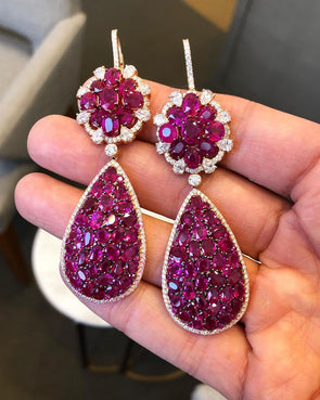 8CT Oval Cut Pear-shaped Purple Diamond Earrings
