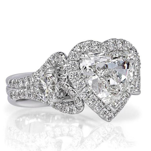 5.01 CT Heart Cut Lab Created White Sapphire With Diamonds Engagement Ring in Sterling Silver