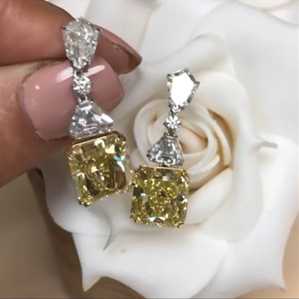 8CT Radiant Cut Yellow Sapphire  Earrings in Sterling Silver