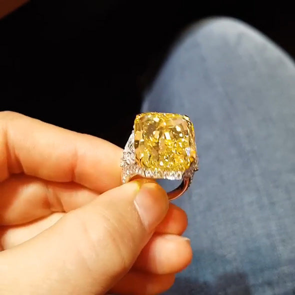 5.50 CT Cushion Cut Fancy Yellow Lab Created Sapphire With Diamonds Engagement Ring in Sterling Silver