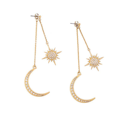 White Rhinestone Star & Moon Long Drop Earrings in Gold Alloy