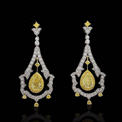 10 CT Pear & Round Cut Yellow and White Sterling Silver Chandelier Style Earrings