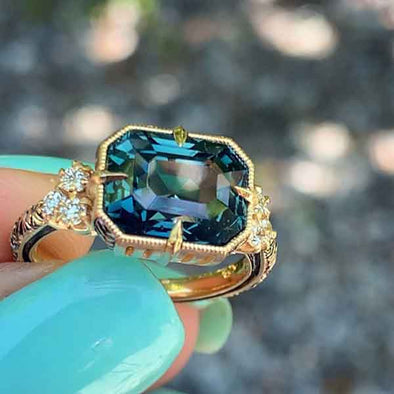 4.5CT Teal Sapphire Ring in Sterling Silver
