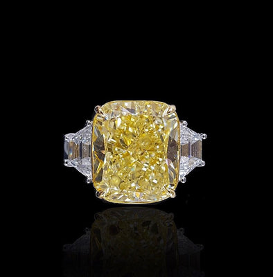 5 CT Asscher Cut Yellow Sapphire Engagement Ring in Sterling Silver