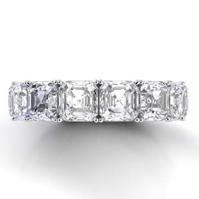 Asscher Cut Lab-created Sapphire Wedding Band in 925 Sterling Silver