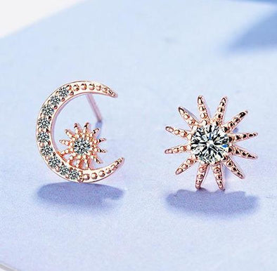 Asymmetry Star & Moon White Rhinestone Stud Earring in Rose Gold Alloy