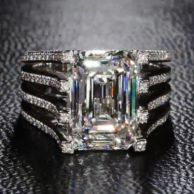 Stunning Brilliant 4.88 CT Emerald Cut Lab-created Diamond Engagement Ring in 925 Sterling Silver