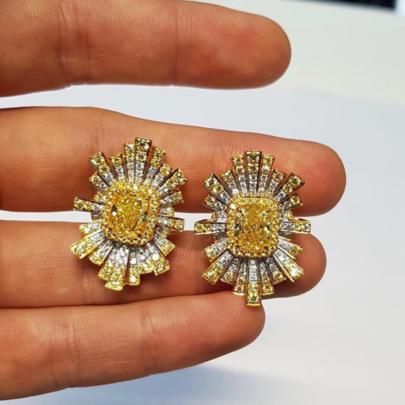 Cushion Cut Yellow And White Removeable Jackets Sterling Silver Studs
