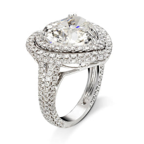 Heart Cut White Lab-created Sapphire Double Halo Engagement Ring in 925 Sterling Silver