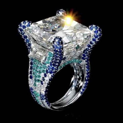 10 CT  Brilliant  Radiant Cut Lab-created Diamond Sterling Silver Ring with Colorful Paved Diamonds