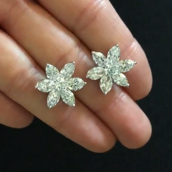 7 CT Marquise Cut White Flower Shape Sterling Silver Earrings