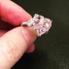 5 CT Fancy Light Pink Heart Shape Sterling Silver Ring