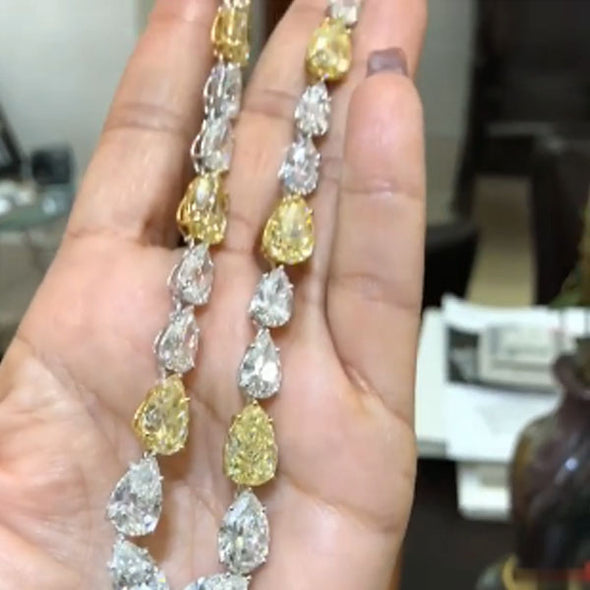 Yellow and White Drop Diamond Necklace