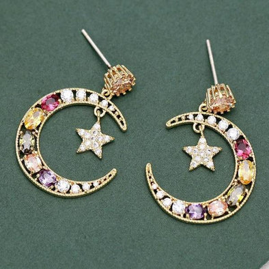 Multi-color Rhinestone Star & Moon Drop Earrings in Gold Alloy