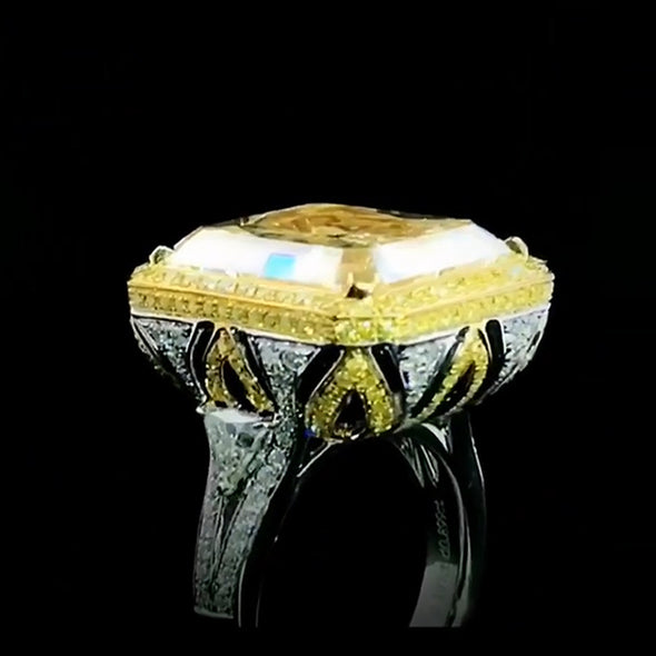 18 CT Fancy  Yellow Sterling Silver Engagement Ring